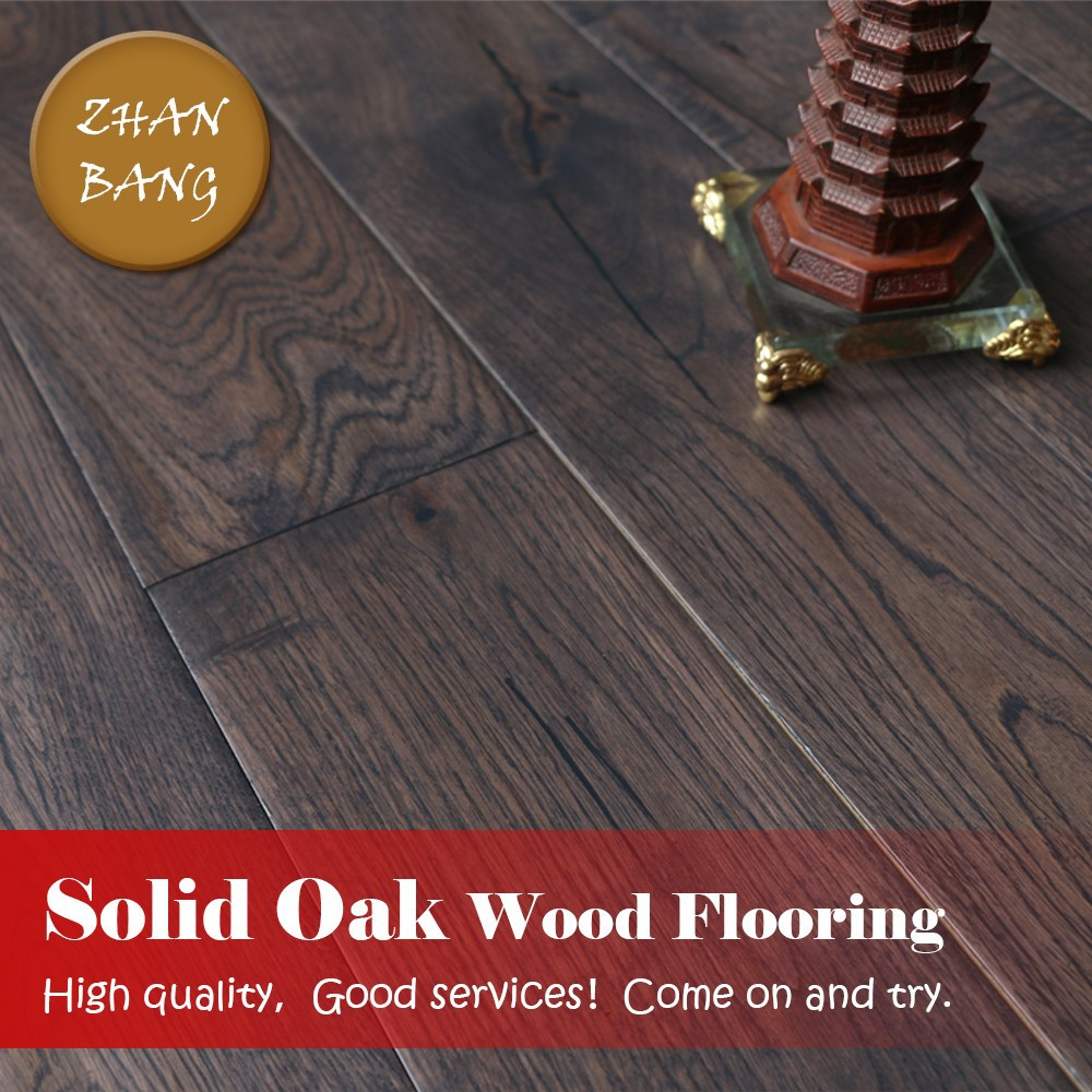 French wire brushed european oak wood flooring hand for Cheap solid wood flooring
