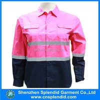 Shenzhen garment wholesale reflective tape pink hi vis safety shirt