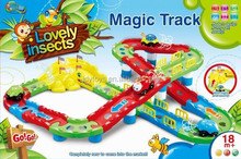 Insect Cartoon Electric Rail Car with Music and Light, Hot Sale Rail Toy for Kids