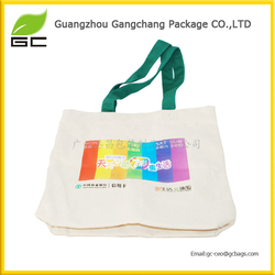 Customized printed logo with packing plain white cotton canvas tote bag