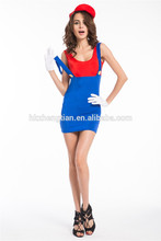 """<span class=""""wholesale_product""""></span> Women Adult Super Plumber Bros 80s Video Game Fancy Dress Workwoman Costume Hen 593"""