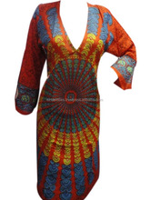 KTLK-11 Pakistani designer long Kurtis for girls V shape neck Without Collar mandala Printed From Jaipur Wholesale lot