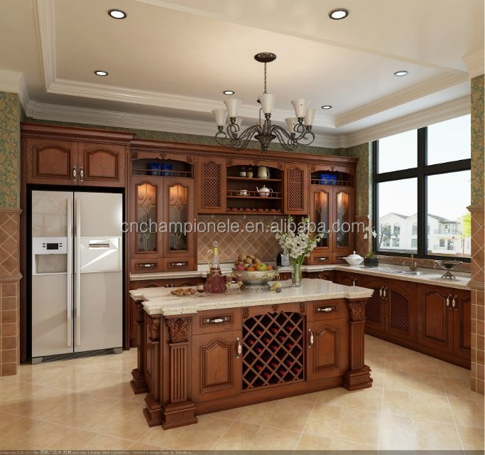 2015 Hot Cleaning Wood Kitchen Cabinet With Marble
