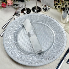 Wholesale Unique Restaurant and Wedding Decoration Gold Silver Glass Catering Charger Plate