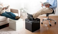 Storage ottoman leather covered cube ottoman