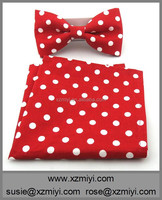 Men Red White Polka Dot Bow Tie and Matching Pocket Square Bow Tie Set