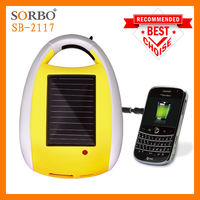 SORBO Most Popular Colorful Portable Solar Charger for Mobile Phone with Carabiner & LED Flashlight Torch