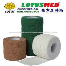 Nanjing lotus CE aprovado poroso algodão cohesive ligadura elástica médica