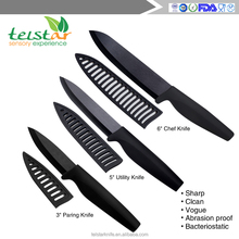 "3""5"" 6"" inch Matte black ceramic knife with TPR handle"
