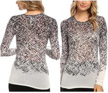 China Market Latest Design Crosshatch Printing Ladi Knit Top