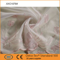 Elegant high quality beautiful flower voile embroidery curtain 2015
