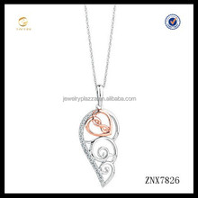 New design rose gold angel wing 925 sterling silver pendant necklace