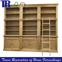 solid wood book cabinet,vintage storage combination cabinet with ladder,assembly cabinet commercial furniture household furnitur