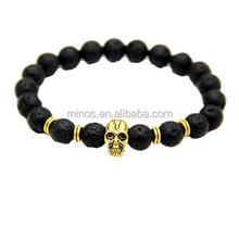 Dubai Cheap Unisex 8mm Lava stone beads Bracelets 24K Gold Skull Elastic Bracelets