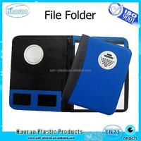Front calculator notebook file folder leather portfolio