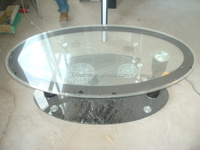 Indian modern living room furniture centre glass table/oval tempered glass top coffee table