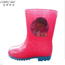 Children's PVC Welly,New Design Waterproof Rain Boot, Pure Sparkling Pink Ground Has Girl Patch Has Blue Sole