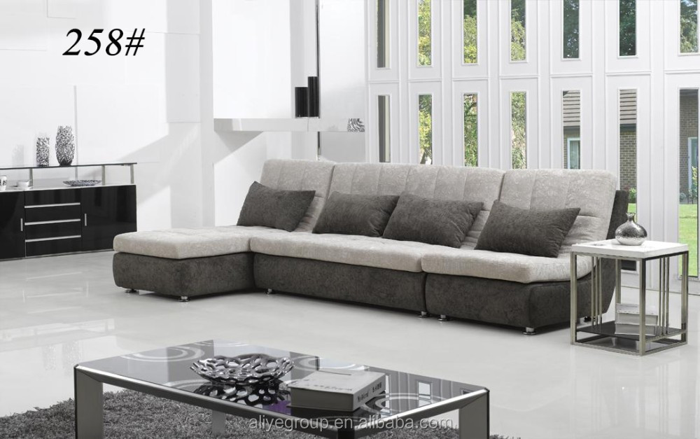 Woonkamer meubels goedkope kleine L vormige houten fluwelen stof ...