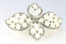 New design Four-leaf clover pretty big rhinestone hair clip