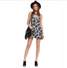 Spring / Summer 2015 New design black printed v neck back zipper dress girls dresses spaghetti strap casual dresses