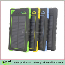 Lycek Home solar systems dual usb outputs waterproof portable solar charger with flashlight