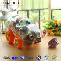 China halal gummy candy !Sweet taste and assorted mini fruit jelly in mini toys School Car jar