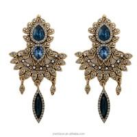rhinestone women fashion earring antuique bronze earring latest jhumka hanging earrings design with price