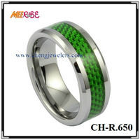 Wholesale fashion green carbide fiber inlay tungsten ring