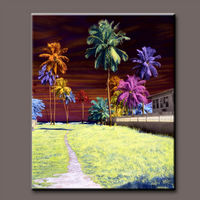 Coconut oil painting colorful scenery and creative. Home office walls are decorated with upscale hotels painting wholesale