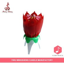 Novelty plastic happy birthday flower music candle