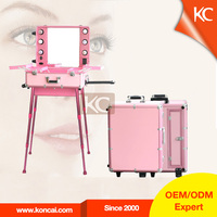 2015 latest professional Aluminum trolley beauty cosmetic case with lighted mirror