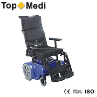 Rehabilitation Therapy Supplies Topmedi high back adjustable backrest reclining electric wheelchair