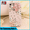Diamond crystal hard case for Samsung note4, hard pc crystal phone case with diamond for samsung note 4