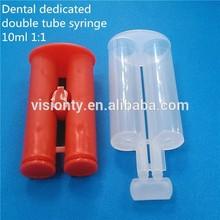 6 ml 10 ml gemelos de plástico jeringa doble cilindro de la jeringa para silicona médica para uso dental
