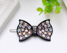 Latest Colorful Crystal Bowknot Hairgrips Charming Women Girls Frog Hair Clips