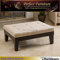 solid wood fabric Storage Ottoman