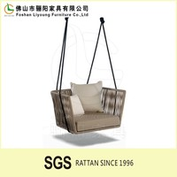 outdoor garden european style patio swing chair with cushion and pillows LG-R-117