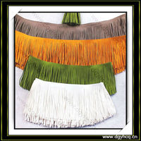 eco friendly comfortable suede leather fringe for cashmere ponchos