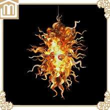 Hand blown amber color glass arms chandelier