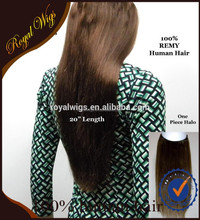 Popular Human Remy Hair One Piece Flip in Hair Exensions Halo Hair Extension