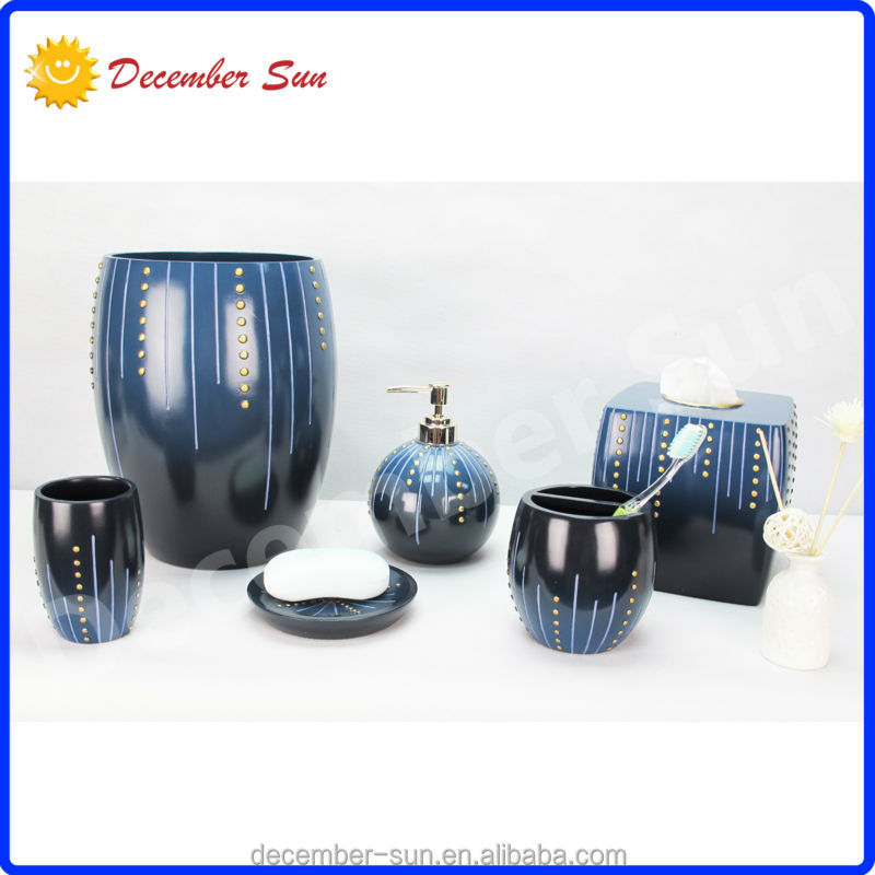 Blue bathroom accessories set kids resin bathroom for Blue bathroom accessories sets