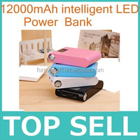 12000mAh Portable Dual USB LCD External Power Bank with a USB cable Battery Charger for iPhone PSP HTC Samsung