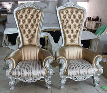 2015 king and queen chair /luxury throne chairs / Pu golden leather crystal chair CY925#