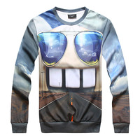 Printed glasses fashion cheap hooded sweatshirts wholesale pullover hoodie