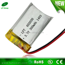 prismatic lithium polymer rechargeable batteries 602030 3.7v 300mah