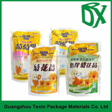 plastic snack food packaging bags , stand up spout pouch with hang hole