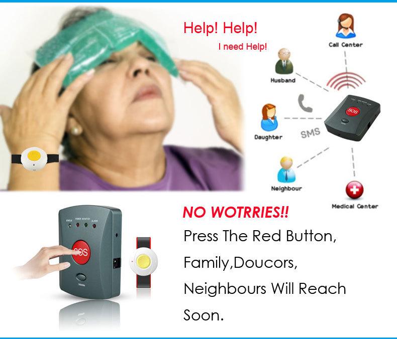 Sos Elderly Help Gsm Personal Emergency Alarm System Wireless With