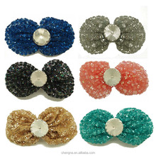Adorable Mesh Ribbon Fashionable Hair Accessories, 3 inch Round Crystal Stone Decorating Sequined Bows