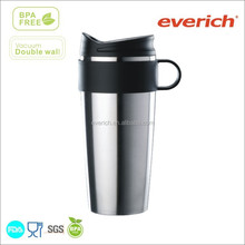2015 new double wall thermal mug, stainless steel thermal mug with one touch stopper