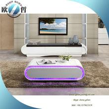 Dubai Glass top wood base coffee table LED white coffee table